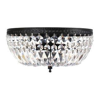 Silver Orchid Taylor 3 Light Crystal Basket Flush Mount Chandelier