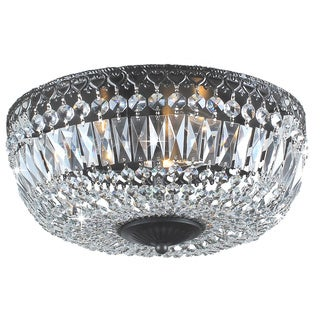 Emilia 12-inch Antique Black Crystal Flush Mount Chandelier