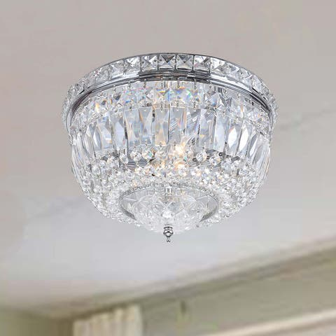 Elisa Chrome Crystal Basket Flush Mount Chandelier - 12 inches in diameter x 8 inches high
