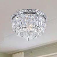 Elisa Chrome Crystal Basket Flush Mount Chandelier