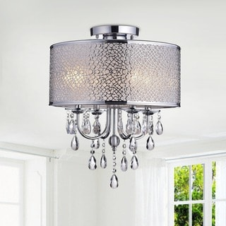 Amalia Indoor 4-light Chrome Metal Drum Shade Crystal Flush Mount Chandelier