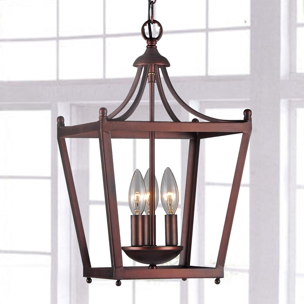 Jacinta 3-light Iron Pagoda-shape Lantern Chandelier (3-L...