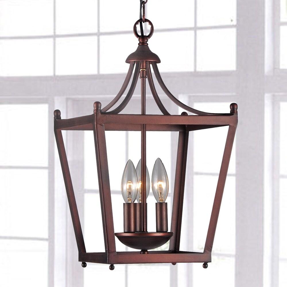 Jacinta 3-light Iron Pagoda-shape Lantern Chandelier (As ...
