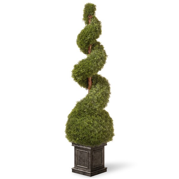 48-inch Cedar Spiral Tree with Ball in a Black Square Pot