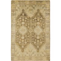 Hand-knotted Alondra Border New Zealand Wool Area Rug - 2' x 3'