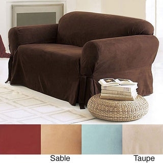 Sure Fit Sable Smooth Suede Washable Sofa Slipcover in Sable (As Is Item)