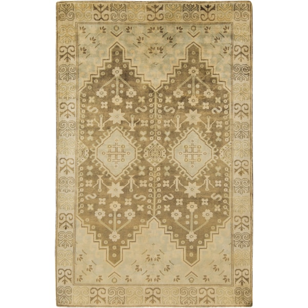 Hand-knotted Alondra Border New Zealand Wool Area Rug - 8' x 11'