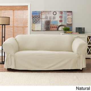 Tailor Fit Relaxed Fit Cotton Duck Sofa Slipcover Natural (As Is Item)
