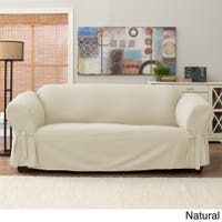 Tailor Fit Relaxed Fit Cotton Duck Sofa Slipcover in Natural (As Is Item)