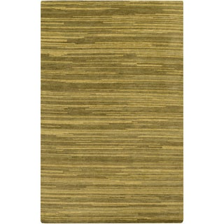 Hand-Knotted Simone Solid Pattern Wool Area Rug (2 x 3 - Olive)