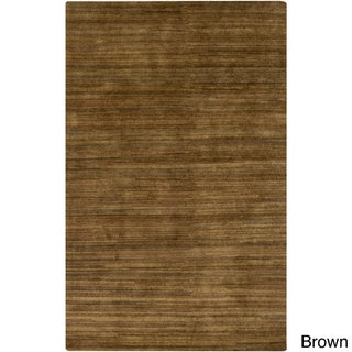 Hand-Knotted Simone Solid Pattern Wool Area Rug (Brown - 2 x 3)