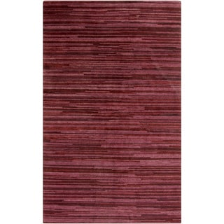 Hand-Knotted Simone Solid Pattern Wool Area Rug (2 x 3 - Burgundy)
