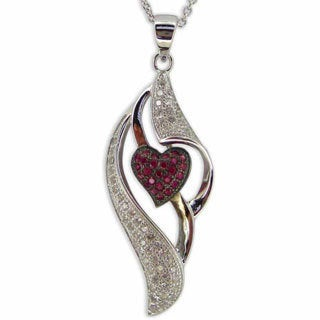 Kabella Divine Red Heart CZ Sterling Silver Pendant Necklace
