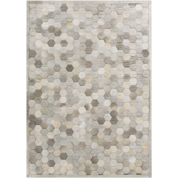 Handmade Cesar Geometric Pattern Leather Rug (2' x 3')