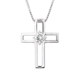 Charles & Colvard Sterling Silver 0.50 TGW Round Classic Moissanite Cross Pendant