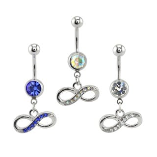 Supreme Jewelry Three Surgical Steel Cubic Zirconia Infinity Belly Rings