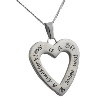 Stainless Steel Cubic Zirconia 'A Daughter's Love Is A Gift From Above' Pendant