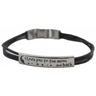 Leather 'I Love You To The Moon and Back' Bracelet