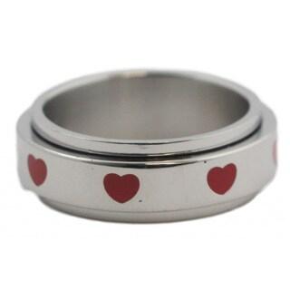 Stainless Steel Red Heart Spinner Ring