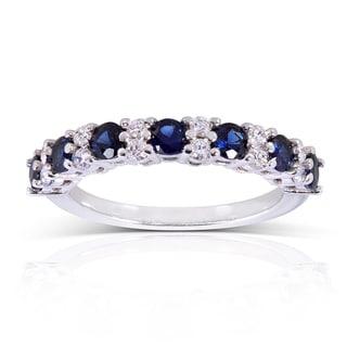 Annello By Kobelli 14k White Gold Blue Sapphire 1 4ct TDW Diamond Band G H I1 I2