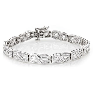 Luxurman Women's 10k Gold Infinity Baguette Diamond 2 4/5ct TDW Bracelet (H-I, SI1-SI2)