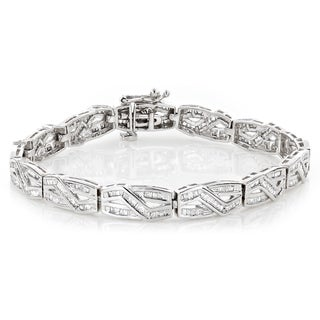 Luxurman Women's 10k Gold Infinity Baguette Diamond 2 4/5ct TDW Bracelet