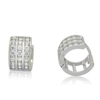 Gioelli Designs Sterling Silver Cubic Zirconia Designer Huggie Earrings