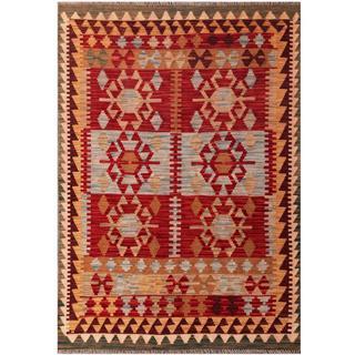 Herat Oriental Afghan Hand-woven Tribal Kilim Red/ Burgundy Wool Rug (4'3 x 6')