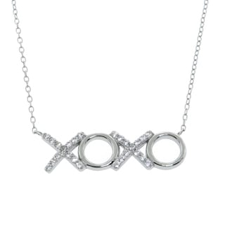 Eternally Haute Sterling Silver Pave XOXO Necklace