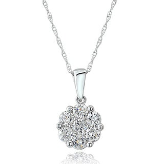 DB Designs 14k White Gold 1/2ct TDW Diamond Cluster Necklace