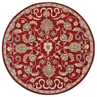 Hand Tufted Salvador Red Wool Round Rug (6'x6')