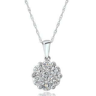 DB Designs 14k White Gold 3/4ct TDW Diamond Cluster Necklace