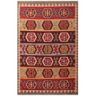 Herat Oriental Afghan Hand-woven Tribal Kilim Burgundy/ Beige Wool Rug (3'11 x 6'1)