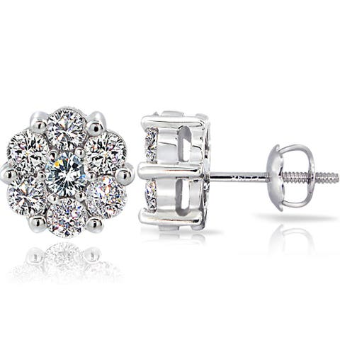 DB Designs 14k White Gold 1ct TDW Diamond Cluster Stud Earrings