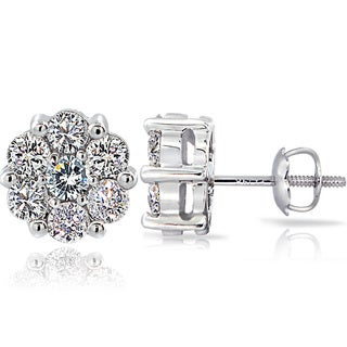 DB Designs 14k White Gold 1ct TDW Diamond Cluster Stud Earrings (G-H, I1-I2)
