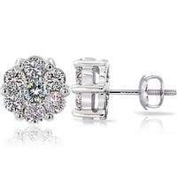DB Designs 14k White Gold 1ct TDW Diamond Cluster Stud Earrings