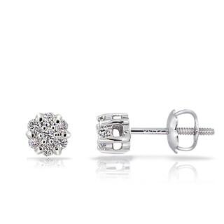 DB Designs 14k White Gold 1/6ct TDW Diamond Cluster Stud Earrings (G-H, I1-I2)