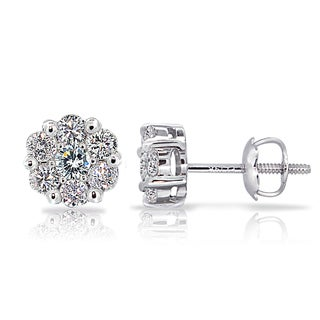 DB Designs 14k White Gold 1/2ct TDW Diamond Cluster Stud Earrings (G-H, I1-I2)