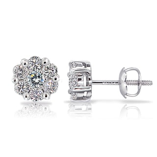 DB Designs 14k White Gold 1/2ct TDW Diamond Cluster Stud Earrings