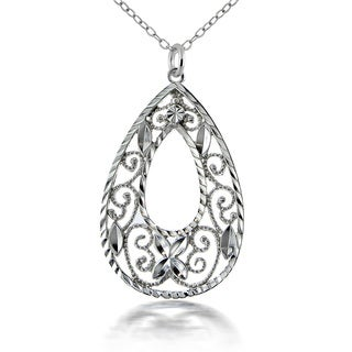 Mondevio Sterling Silver Lace Teardrop Necklace