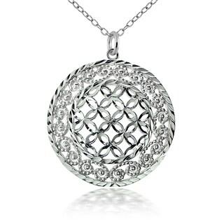 Mondevio Sterling Silver Lace Circle Necklace