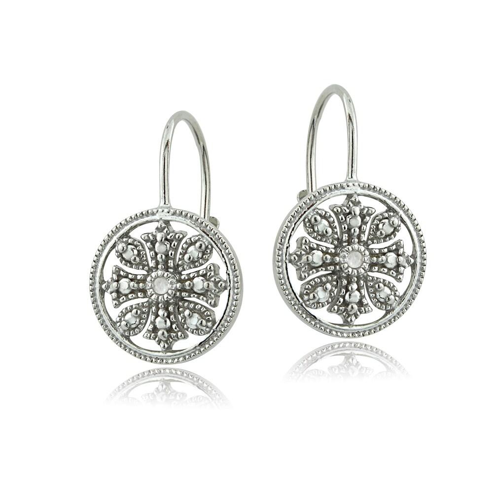 DB Designs Sterling Silver Diamond Accent Filigree Leverb...
