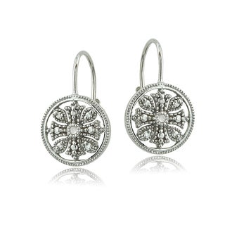 DB Designs Sterling Silver Diamond Accent Filigree Leverback Earrings