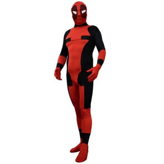 Black and Red Superhero Villain Adult Costume Spandex Body Suit