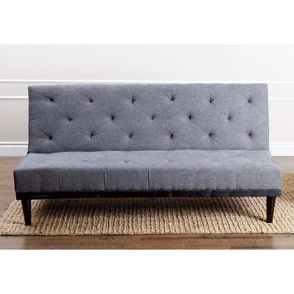 Grey Fabric Futon Sofa Bed