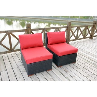 Andover Dura-Fast Red Olefin Fabric Armless Chairs (Set of 2)