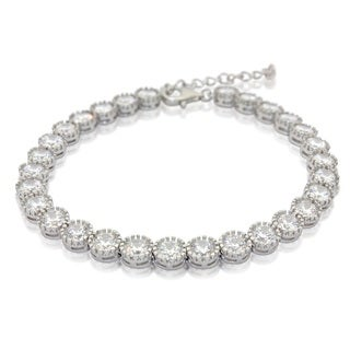 Sterling Silver Round-cut Cubic Zirconia Adjustable Bracelet