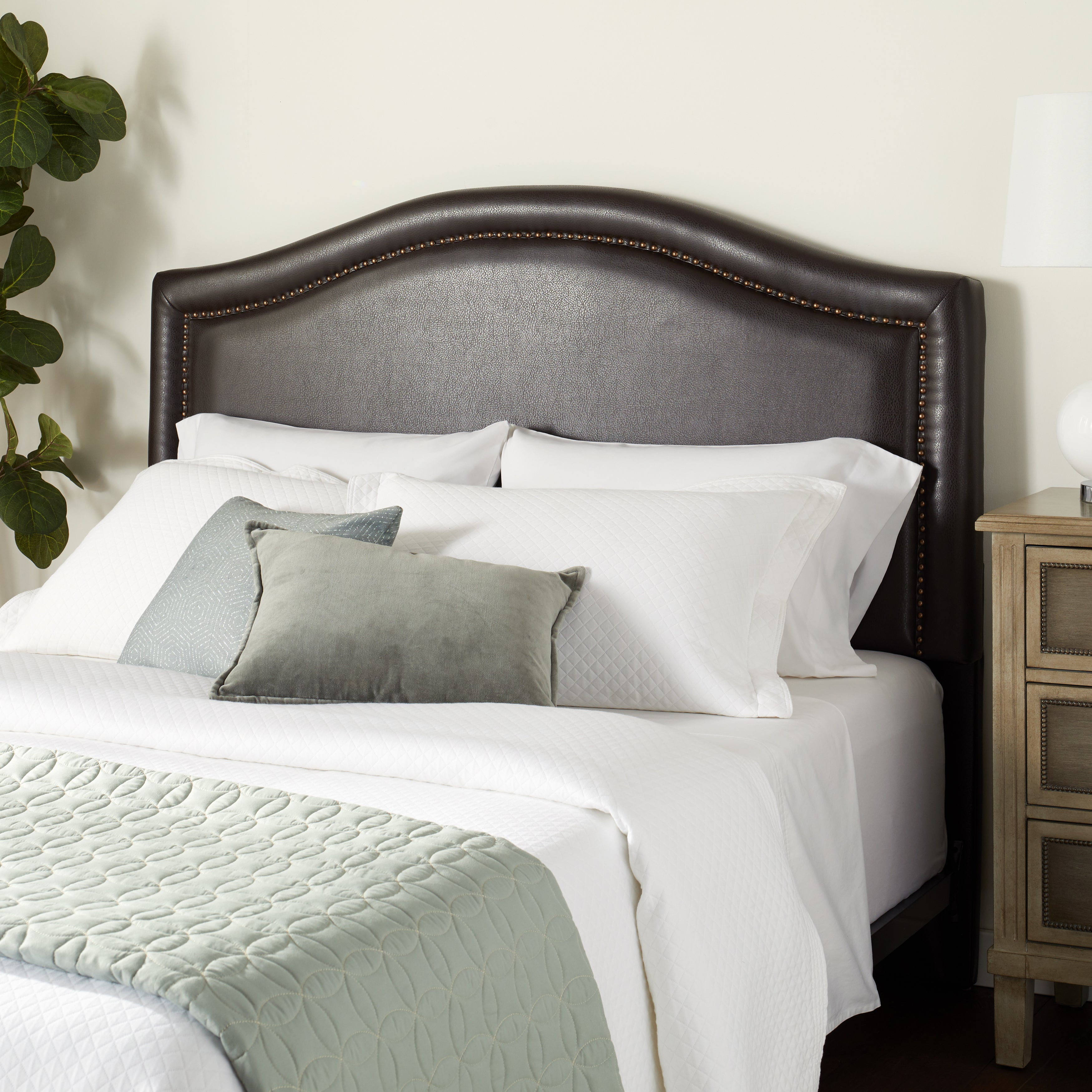 newest collection c74f9 227be Abbyson Raleigh Nail Head Trim Dark Brown Leather Headboard