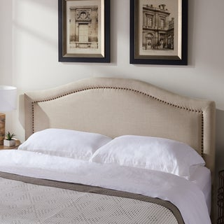 Link to Abbyson Raleigh Studded Beige Linen Headboard Similar Items in Bedroom Furniture