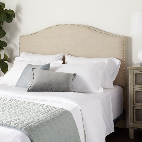 Abbyson Riley Nail Head Cream Linen Headboard